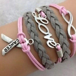 "GREY PINK BREAST CANCER ""LOVE"" Infinity Bracelet"